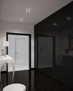 Полностью глянцевая черная стена для небольшой прихожей