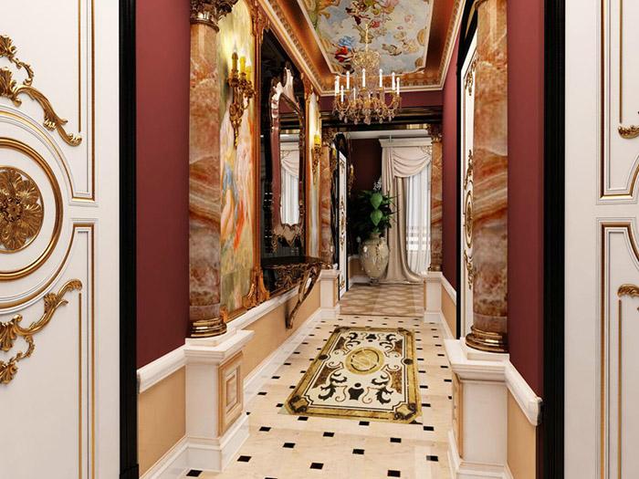 Прихожая с богатым барокко интерьером