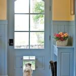 Голубые нежные оттенки в создании входной двери в прихожей для кантри стиля