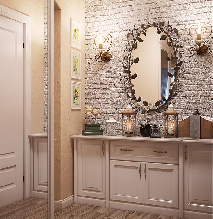 Стиль кантри в оформлении тумбы и зеркала в прихожей