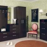 Модульная прихожая в темном цвете с удобными шкафами