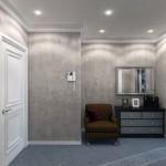 Дизайн прихожей с серыми обоями и белой дверью