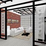 Прихожвя со стеклянной дверью в японском стиле с черными деталями