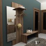 Темная прихожая синего цвета с уникальным дизайном мебели