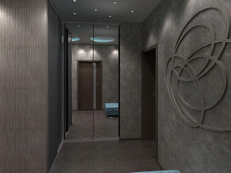 Дизайн прихожей в черном цвете с изящным декором стен