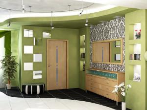 Просторная зеленая прихожая в современном стиле
