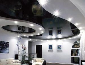 Черно-белый натяжной потолок для дома