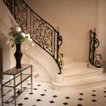 Шикарная лестница со ступенями из керамогранита