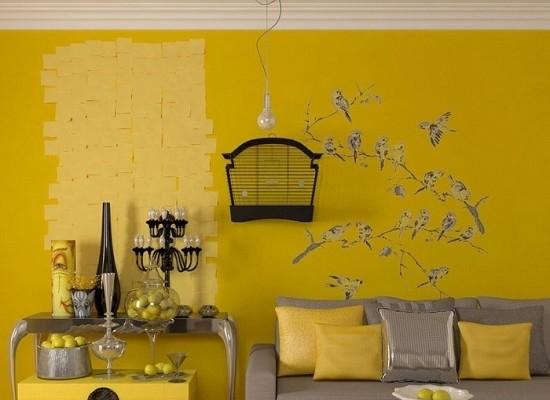 Варианты желтых обоев для стен