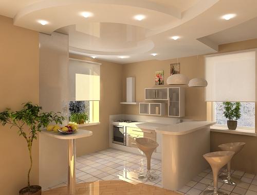 Виды отделки кухонного потолка