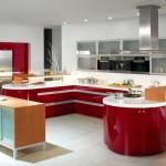 Красивая красная кухня