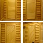 Установленные двери из липы в бане