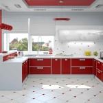 красная кухня с белыми элементами