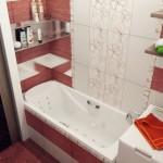 интерьер для ванной комнаты в красном цвете