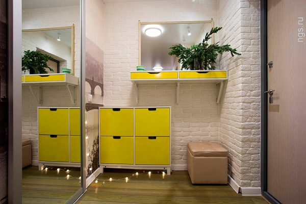 Шкаф для обуви в желтом цвете
