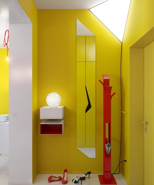 Элегантная прихожая в ярком желтом цвете