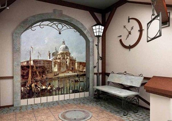 Имитация улицы эпохи Возрождения для прихожей в стиле ренессанс
