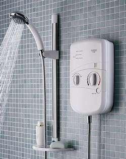 Установка водонагревателя проточного в ванной комнате около душа