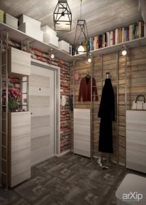 Практичная прихожая с белой мебелью для лофт стиля