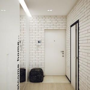 Белый кирпич в оформлении прихожей для лофт стиля