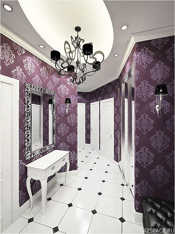 Фиолетовые обои с белой мебелью для создания арт-деко дизайна